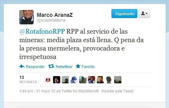 Marco Arana pone a radicales de Cajamarca contra la prensa