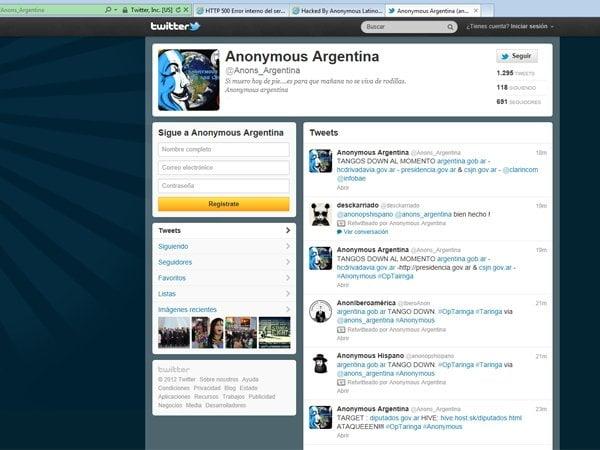 Anonymous atacó web del Gobierno argentino en #OPTaringa