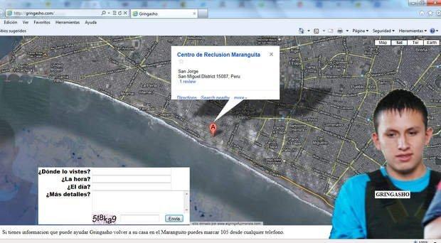 Gringasho: Crean página web para informar sobre ubicación de delincuente