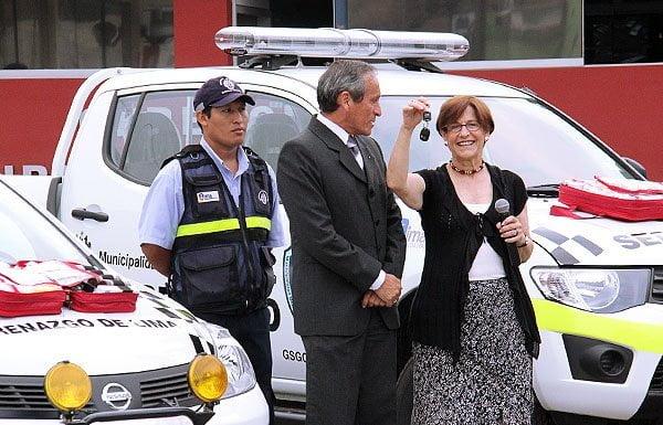 Susana Villarán y patrulleros (Municipalidad de Lima)