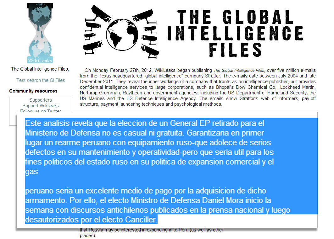 Documento difundido por Wikileaks que alude a Daniel Mora