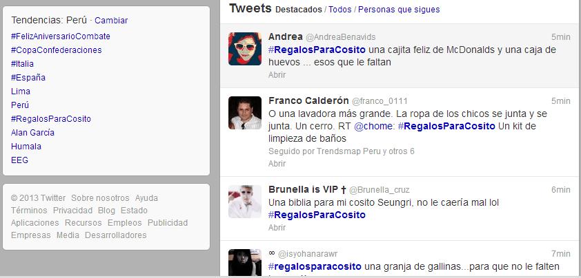 Cumpleaños de Humala: Es tendencia hashtag #RegalosParaCosito