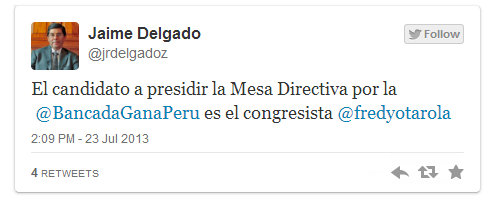 Fredy Otárola será el candidato de Gana Perú para presidir el Congreso