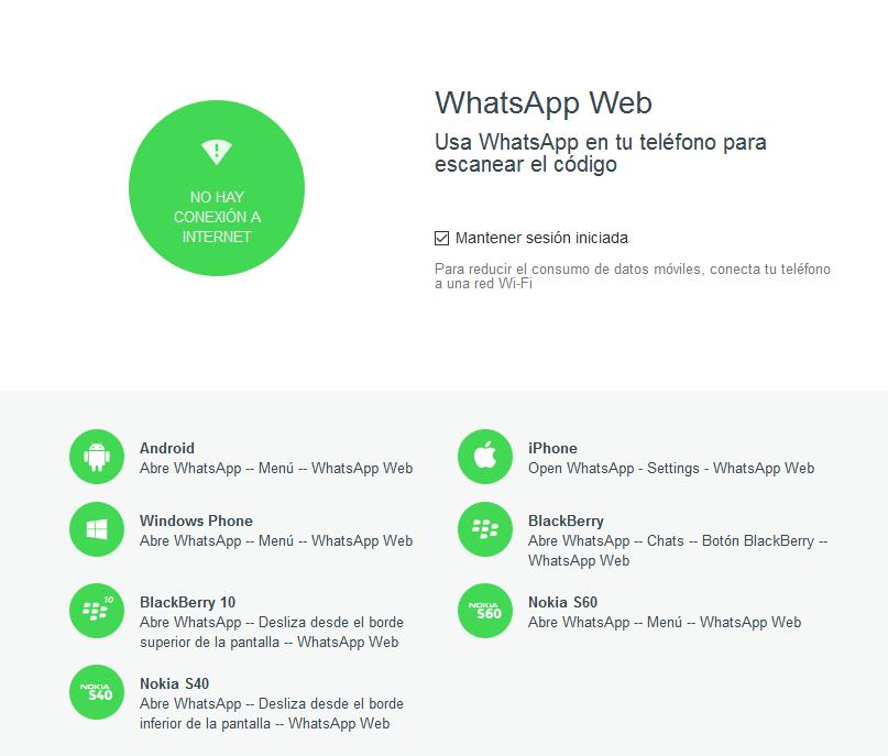 WhatsApp web se cayó por varios minutos