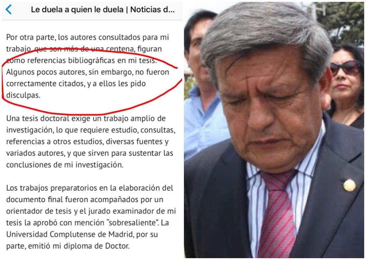 César Acuña admite que no mencionó a algunos autores en su tesis